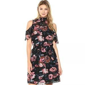 Ivanka Trump Cold Shoulder Floral Print Dress